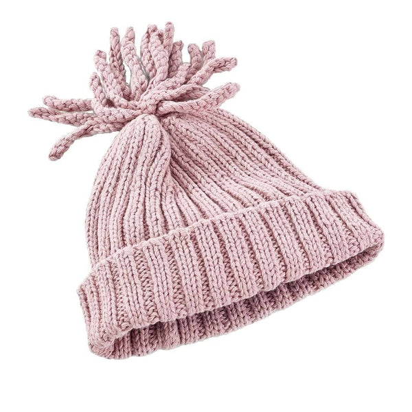Pebble Organic Ribbed Baby Hat - Dusky Pink Pebble