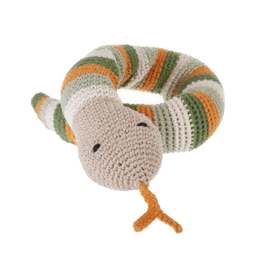 Pebble Organic Snake Rattle - Khaki Pebble