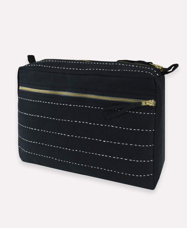 Pin Stitch Large Toiletry Bag - Charcoal Accessories Anchal Project
