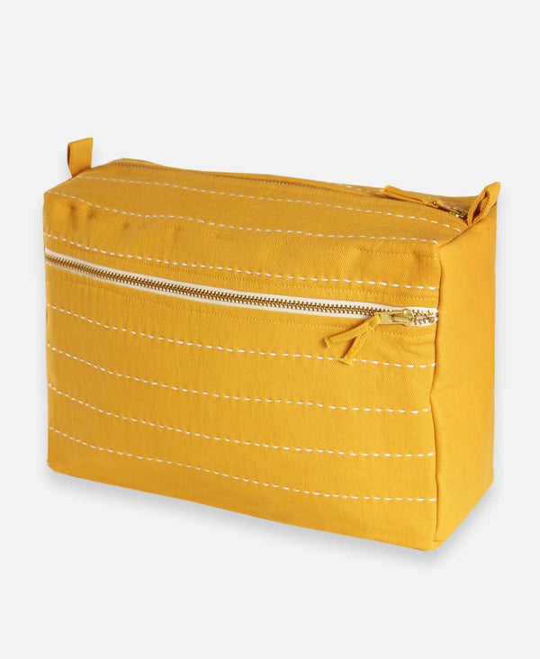 Pin Stitch Large Toiletry Bag - Mustard Accessories Anchal Project
