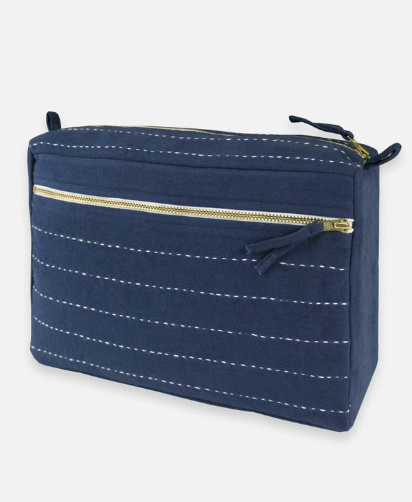 Pin Stitch Large Toiletry Bag - Navy Accessories Anchal Project