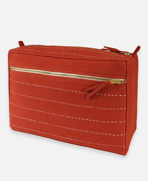 Pin Stitch Large Toiletry Bag - Rust Accessories Anchal Project