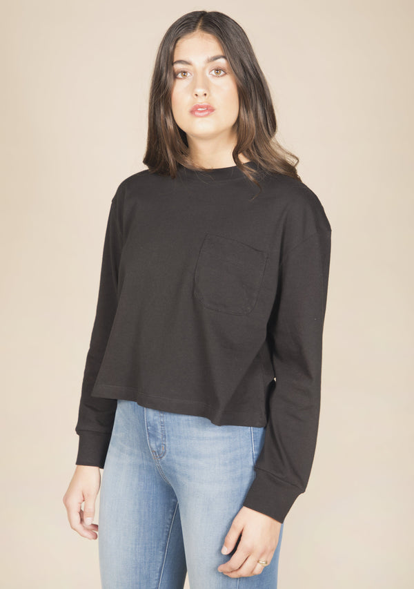Poplinen Cindy Crop Pocket Tee Poplinen 2XL Black