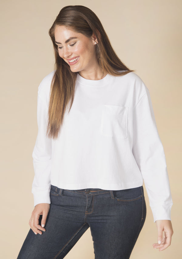 Poplinen Cindy Crop Pocket Tee - White Clothing Poplinen XS White