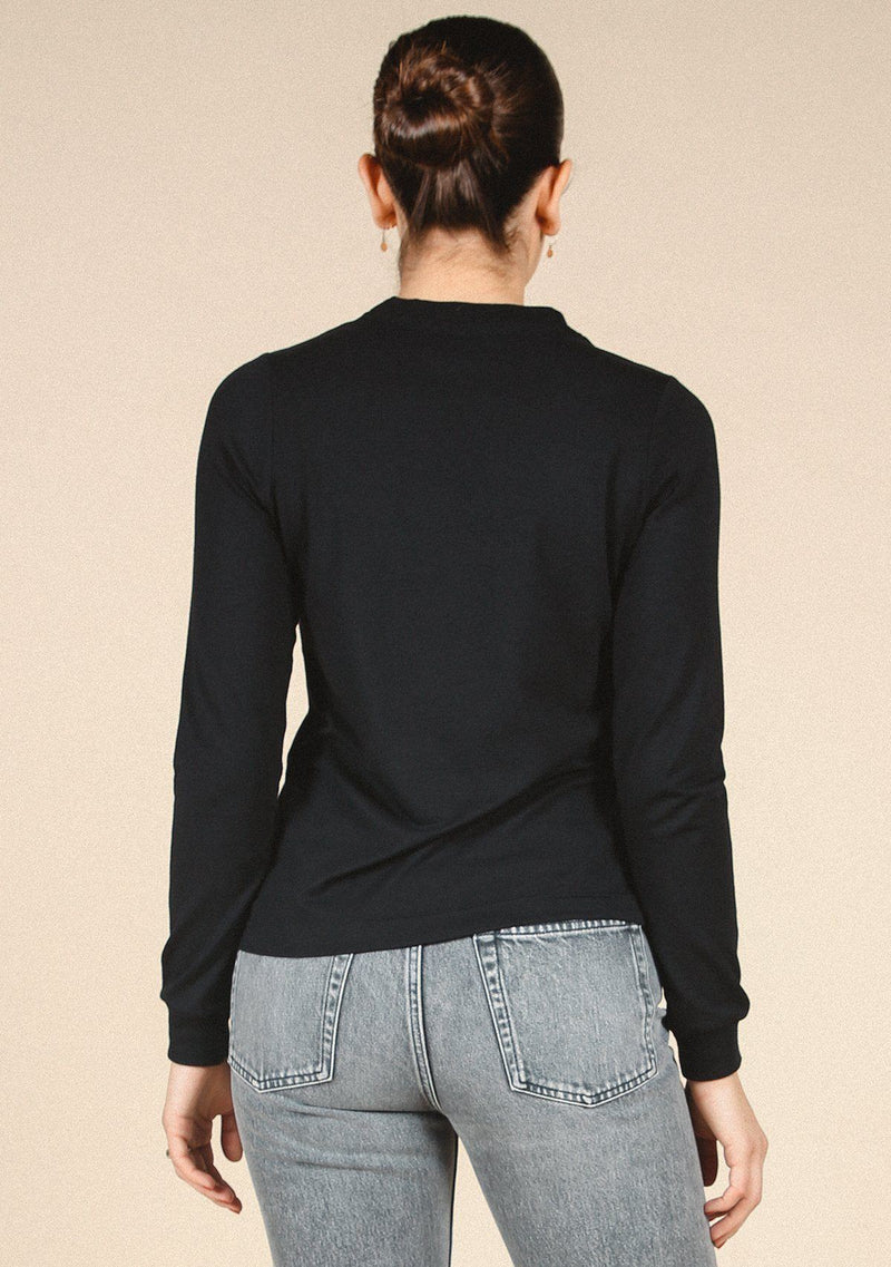 Poplinen Gwen Tencel Long Sleeve Tee - Black Clothing Poplinen