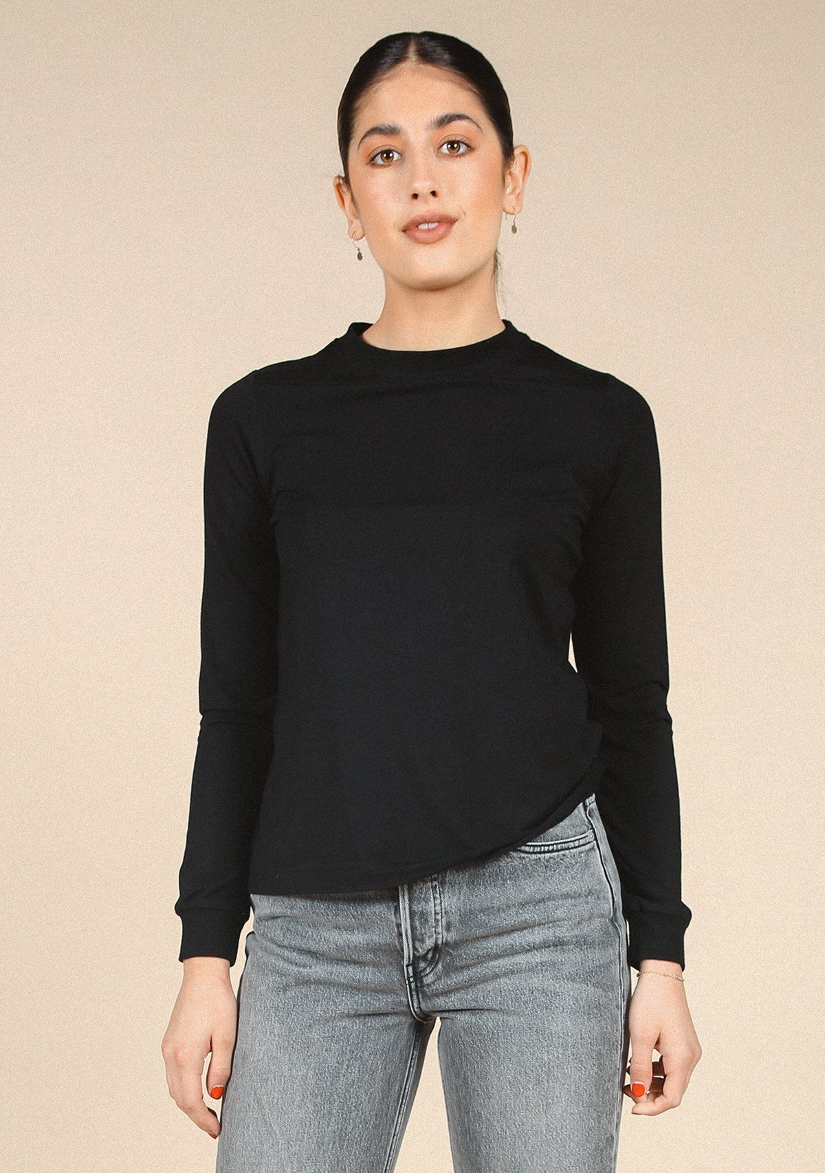 Poplinen Gwen Tencel Long Sleeve Tee - Black Clothing Poplinen Black XS