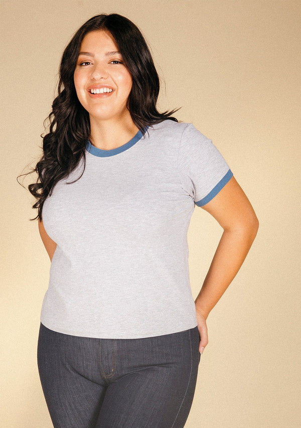 Poplinen Pat Ringer Tee in Bamboo + 100% Cotton - Heather Grey + True Blue Clothing Poplinen XS Heather Grey + True Blue