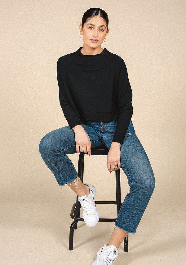 Poplinen Wilder Mock Neck Sweatshirt - Black Clothing Poplinen