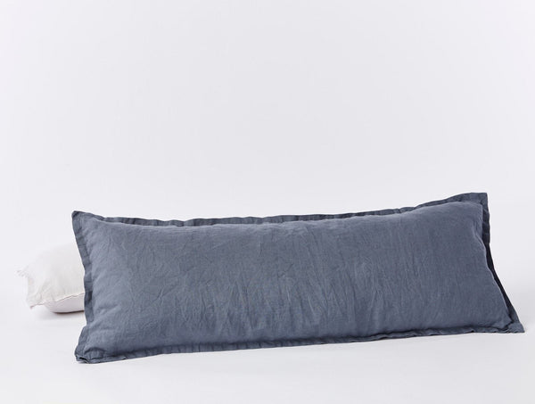 Relaxed Linen Lumbar Pillow Cover Bedding Coyuchi Harbor Blue