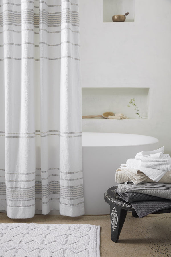 Rippled Stripe Organic Shower Curtain Made Trade