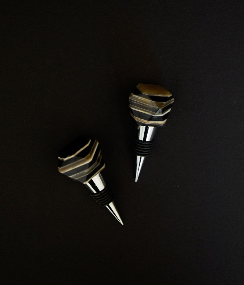 Rose & Fitzgerald Ankole Horn Geometric Bottle Stopper Rose & Fitzgerald