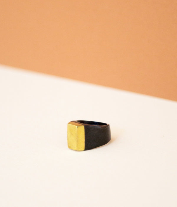 Rose & Fitzgerald Ankole Horn & Pure Brass Statement Ring - Dark Rose & Fitzgerald