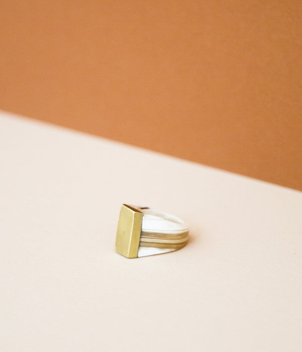 Rose & Fitzgerald Ankole Horn & Pure Brass Statement Ring - Layered Rose & Fitzgerald