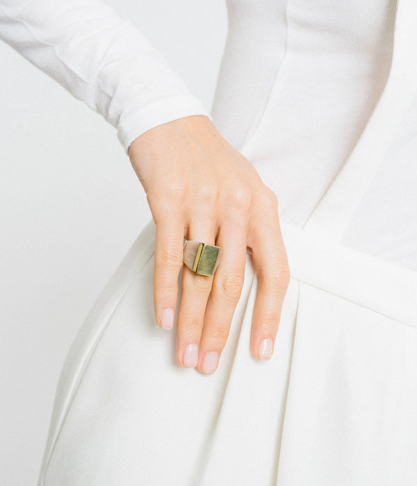 Rose & Fitzgerald Ankole Horn & Pure Brass Statement Ring - Light Rose & Fitzgerald