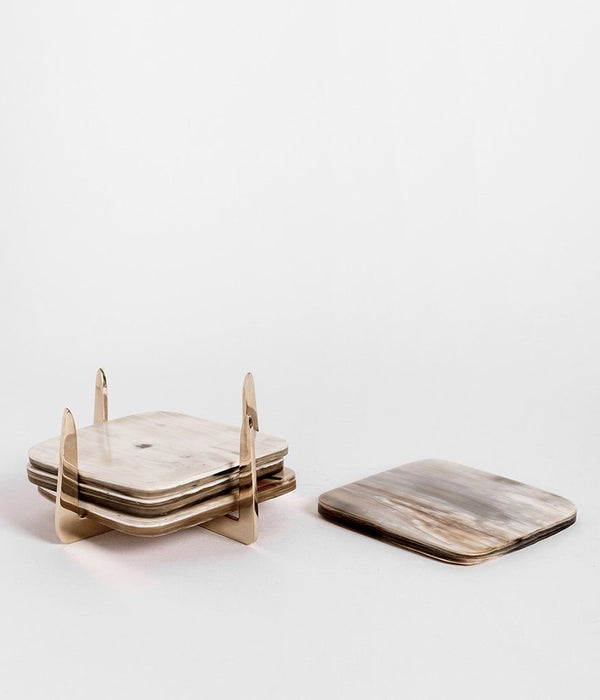 Rose & Fitzgerald Pure Brass & Ankole Horn Coaster Set - Light Horn Rose & Fitzgerald