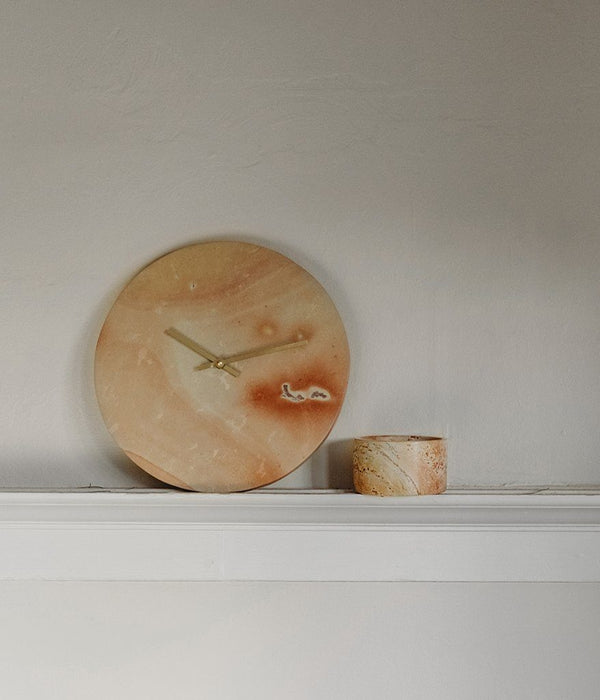 Rose & Fitzgerald Soapstone & Brass Wall Clock Rose & Fitzgerald