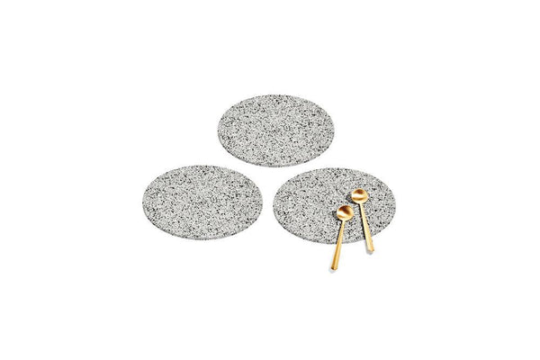 Round Recycled Rubber Trivets - Gris Kitchen and Dining Slash Objects Set of 3