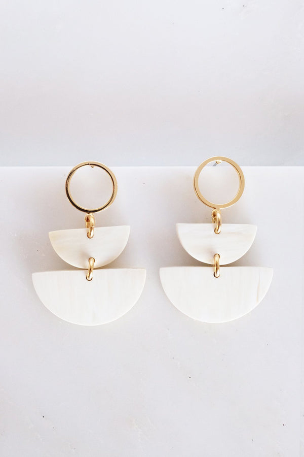 Saigon II Geo Buffalo Horn Post Dangle Earrings - Light Earrings Hathorway