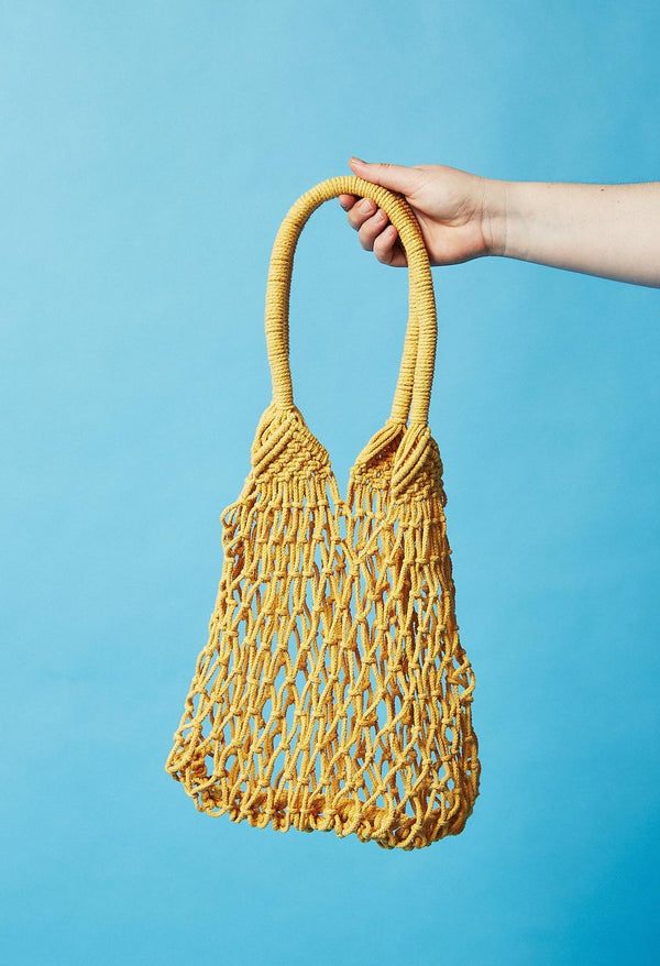Salt + Umber Hudson Fishnet Market Bag - Yellow Salt & Umber