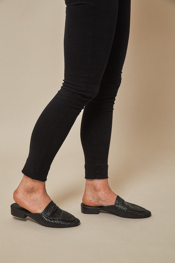 Salt + Umber Positano Mules in Black Women's Shoes Made Trade