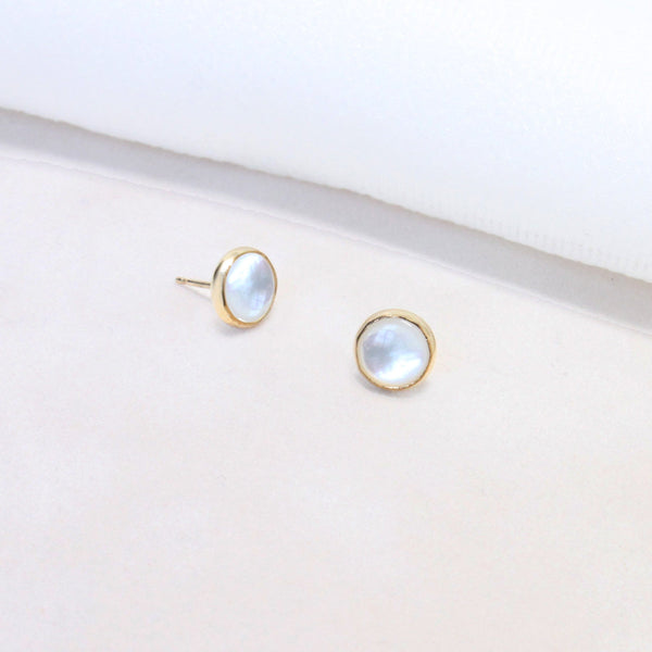Sara Patino Jewelry Deep Stud Earrings with Mother of Pearl Earrings Sara Patino Jewelry