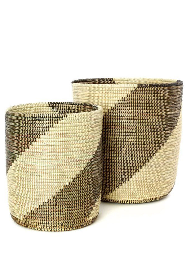 Swahili African Modern Set of 2 Nesting Swirl Baskets