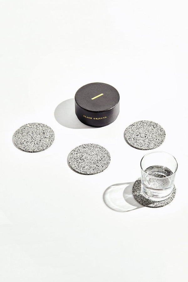Slash Objects Round Rubber Coasters in Gris Slash Objects