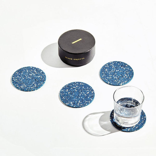 Slash Objects Round Rubber Coasters in Royal Slash Objects