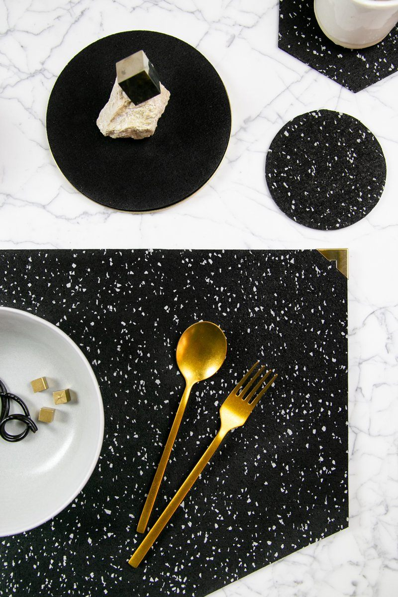 Slash Objects Round Rubber Coasters in Speckled Black Slash Objects