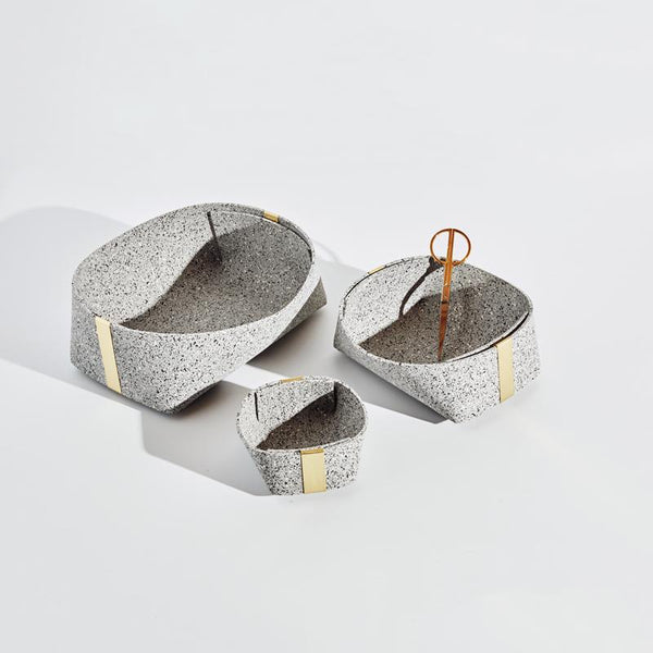 Slash Objects Rubber and Brass Basket Set in Gris Slash Objects
