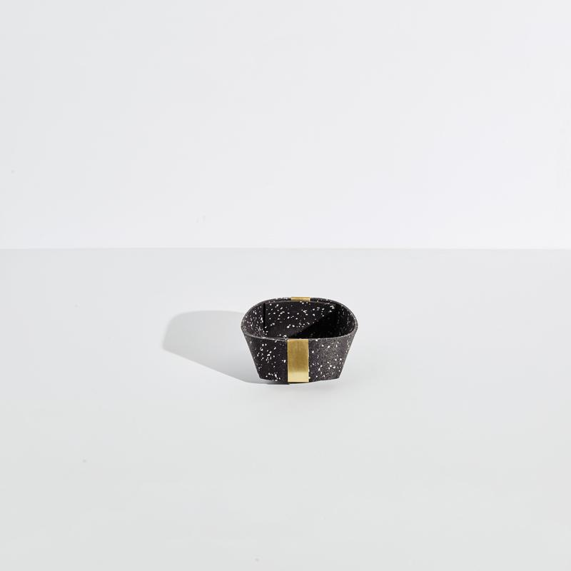 Slash Objects Rubber and Brass Baskets in Speckled Black Slash Objects