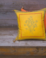 Soil to Studio Aditi - Handwoven & Block-printed Linen Pillow Pillows Soil to Studio -14246721650751