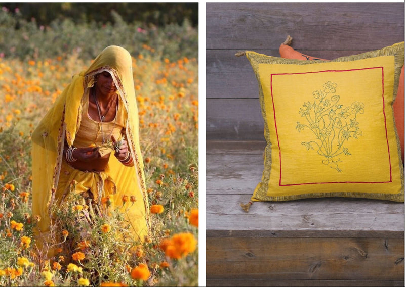Soil to Studio Aditi - Handwoven & Block-printed Linen Pillow Pillows Soil to Studio