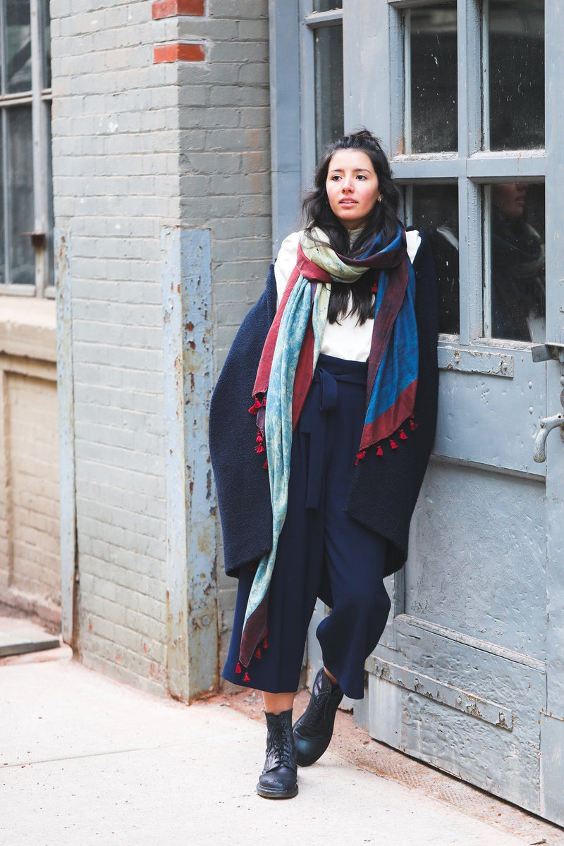 Soil to Studio Aranya - Natural Dyes and Block-printed Silk Scarf Scarfs Soil to Studio