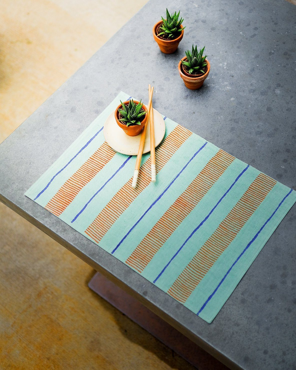 Soil to Studio Arundhati - Handwoven & Block-printed Table Placemats Table Linen Soil to Studio