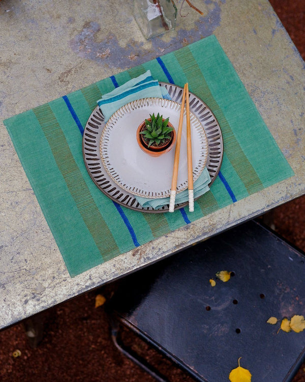 Soil to Studio Arundhati Table Placemats - Forest Green Table Linen Soil to Studio