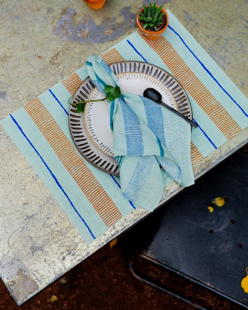 Soil to Studio Indu Handwoven & Block-printed Napkins - Tiffany Blue Table Linen Soil to Studio