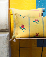 Soil to Studio Ira - Handwoven & Block-printed Linen Pillow Pillows Soil to Studio -14246686195775