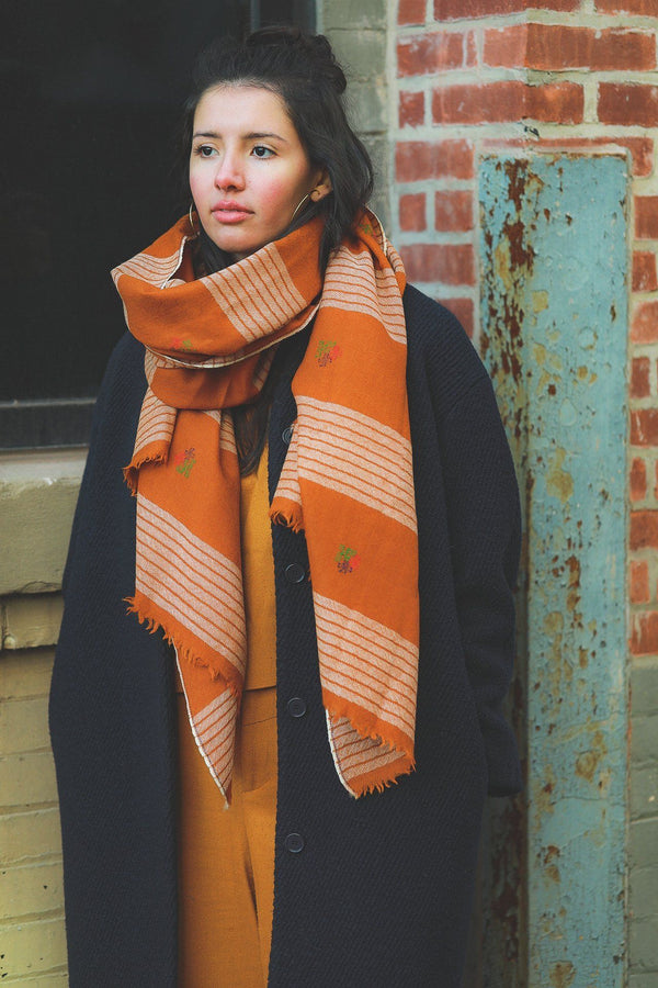 Soil to Studio Natasha - Handwoven Color Blocked Merino Scarf Scarfs Soil to Studio