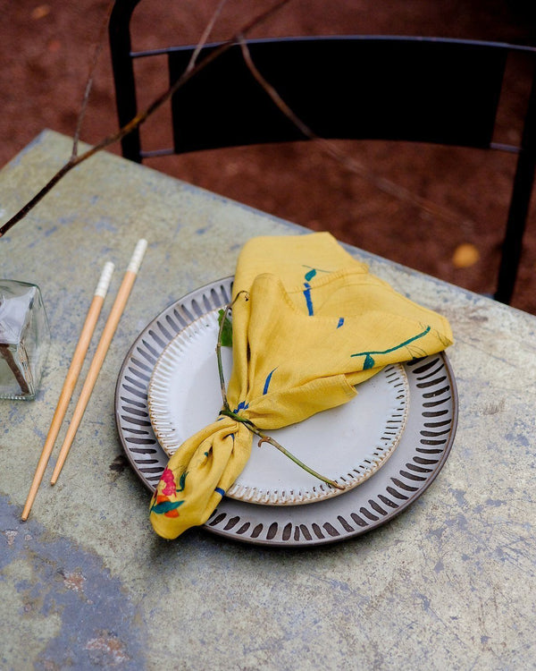 Soil to Studio Zeenat Handwoven & Block-printed Napkins - Dandelion Table Linen Soil to Studio