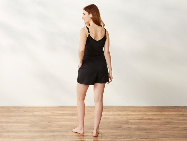 Solstice Short Romper - Deep Graphite Women's Clothing Coyuchi