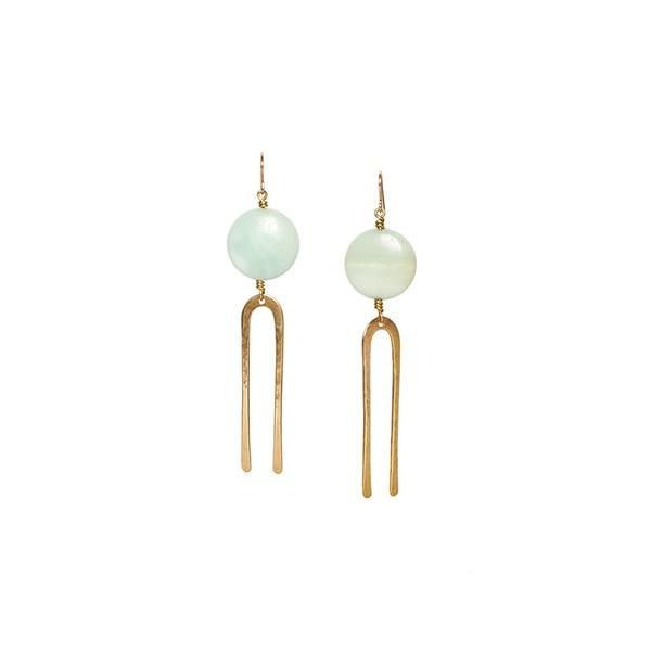 Son of a Sailor Frances Earrings / Amazonite with Bronze Forks Son of a Sailor