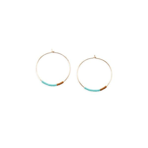 Son of a Sailor Septima Pattern Hoop Earring / Turquoise Son of a Sailor