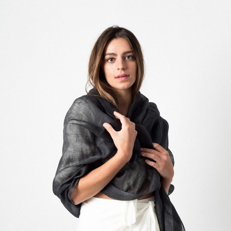 Studio Variously Charcoal Linen Scarf Studio Variously