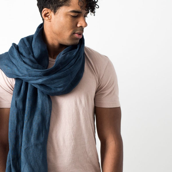 Studio Variously Midnight Blue Linen Scarf Studio Variously
