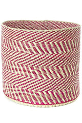Swahili African Modern Berry and Natural Maila Milulu Reed Basket Swahili African Modern -15435372199999
