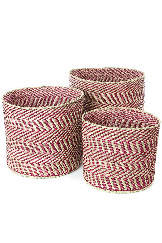Swahili African Modern Berry and Natural Maila Milulu Reed Basket Swahili African Modern