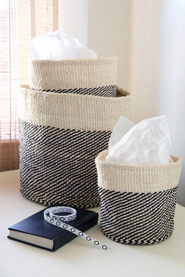 Swahili African Modern Black and Cream Twill Sisal Nesting Baskets - Set of 3 Swahili African Modern
