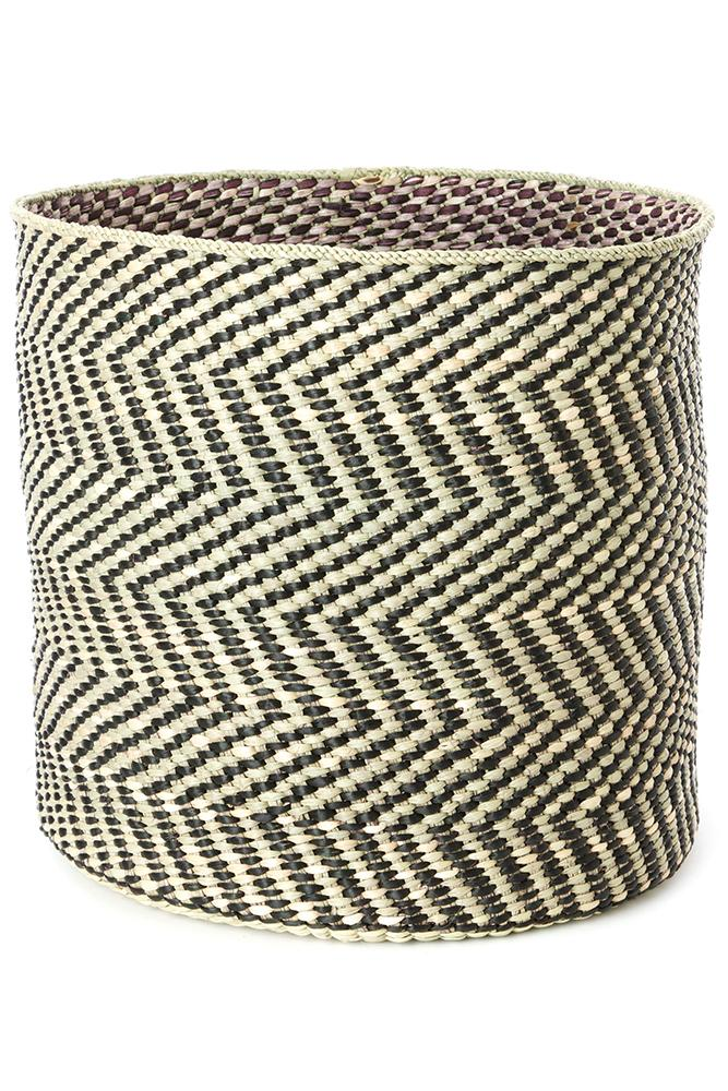 Swahili African Modern Black and Natural Maila Milulu Reed Basket Swahili African Modern