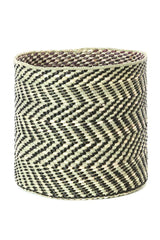 Swahili African Modern Black and Natural Maila Milulu Reed Basket Swahili African Modern -15435371380799